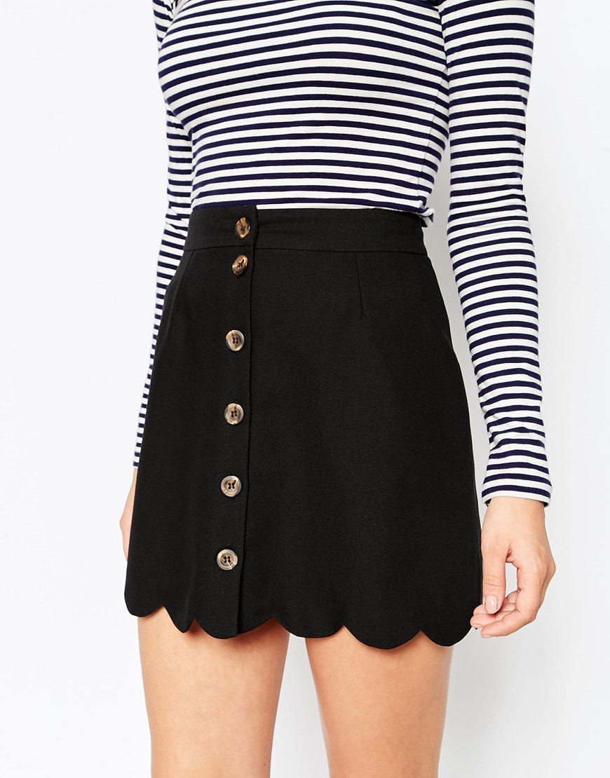 Asos A-line Skirt With Scallop Hem And Button Through in Black | Lyst