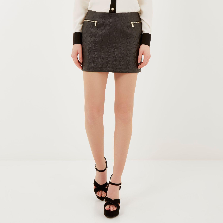 River Island Black Zip Mini Skirt