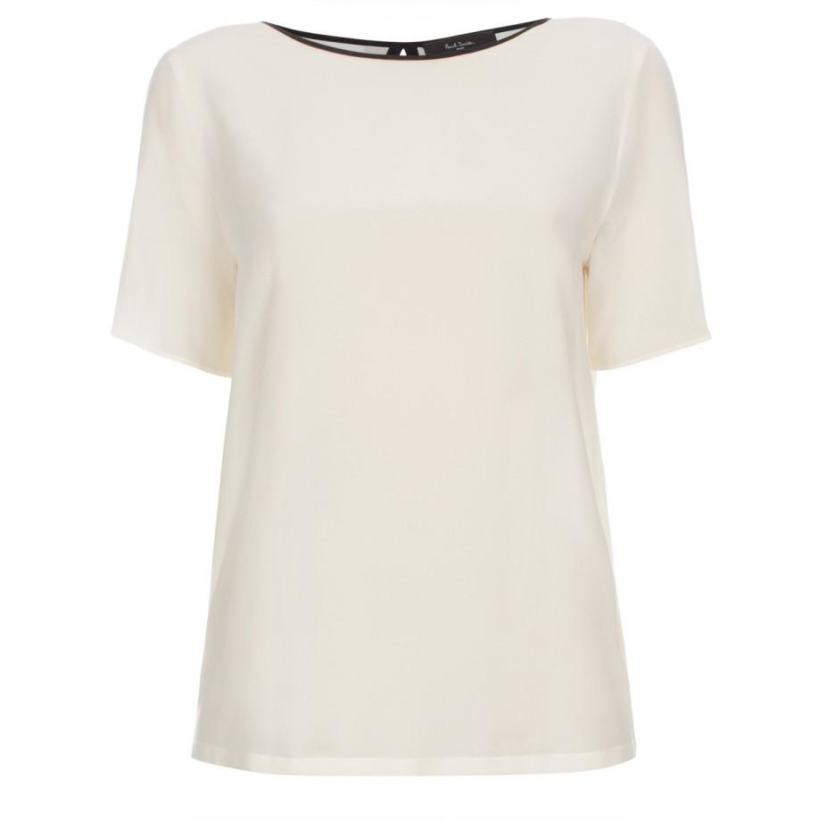 Paul smith Women's Cream Silk Top With Pleated Back in White | Lyst