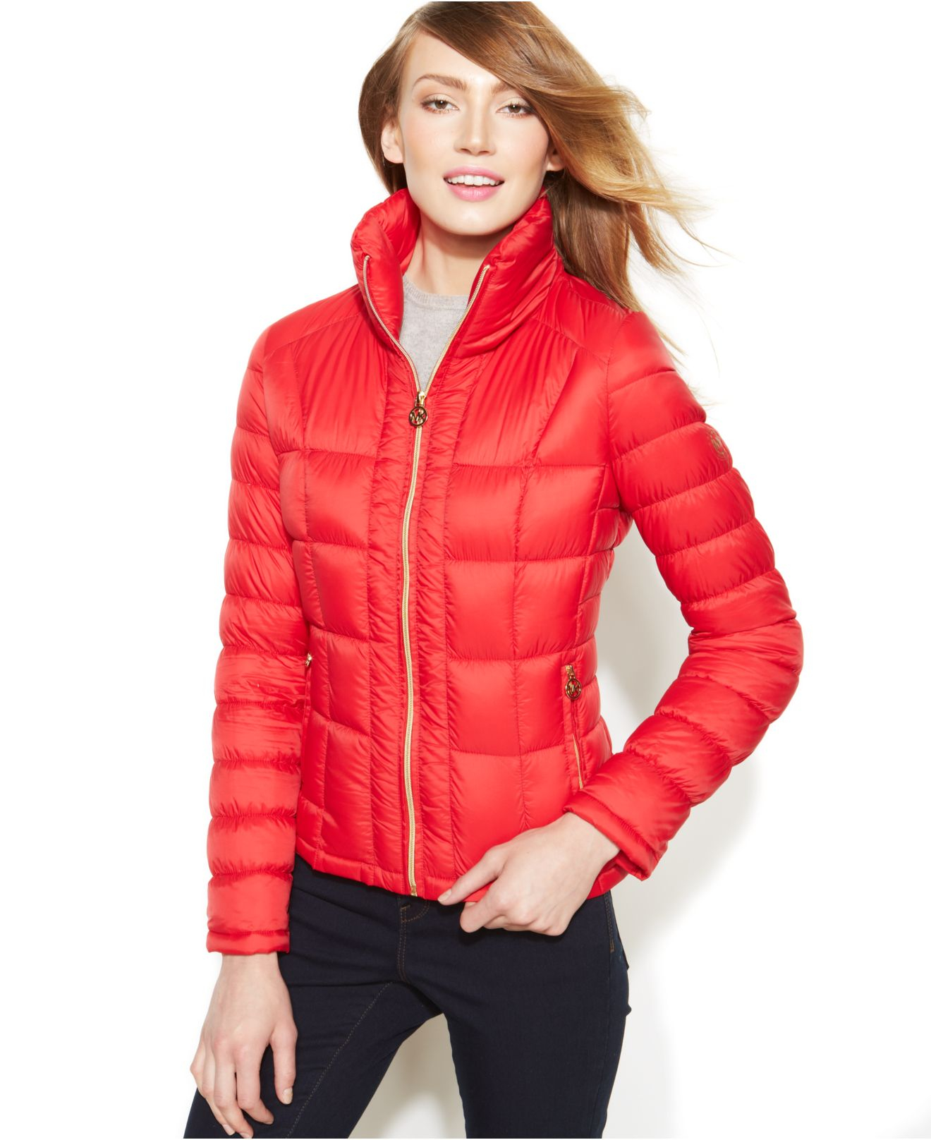 Michael kors Michael Packable Quilted Down Puffer Coat in Red   Lyst