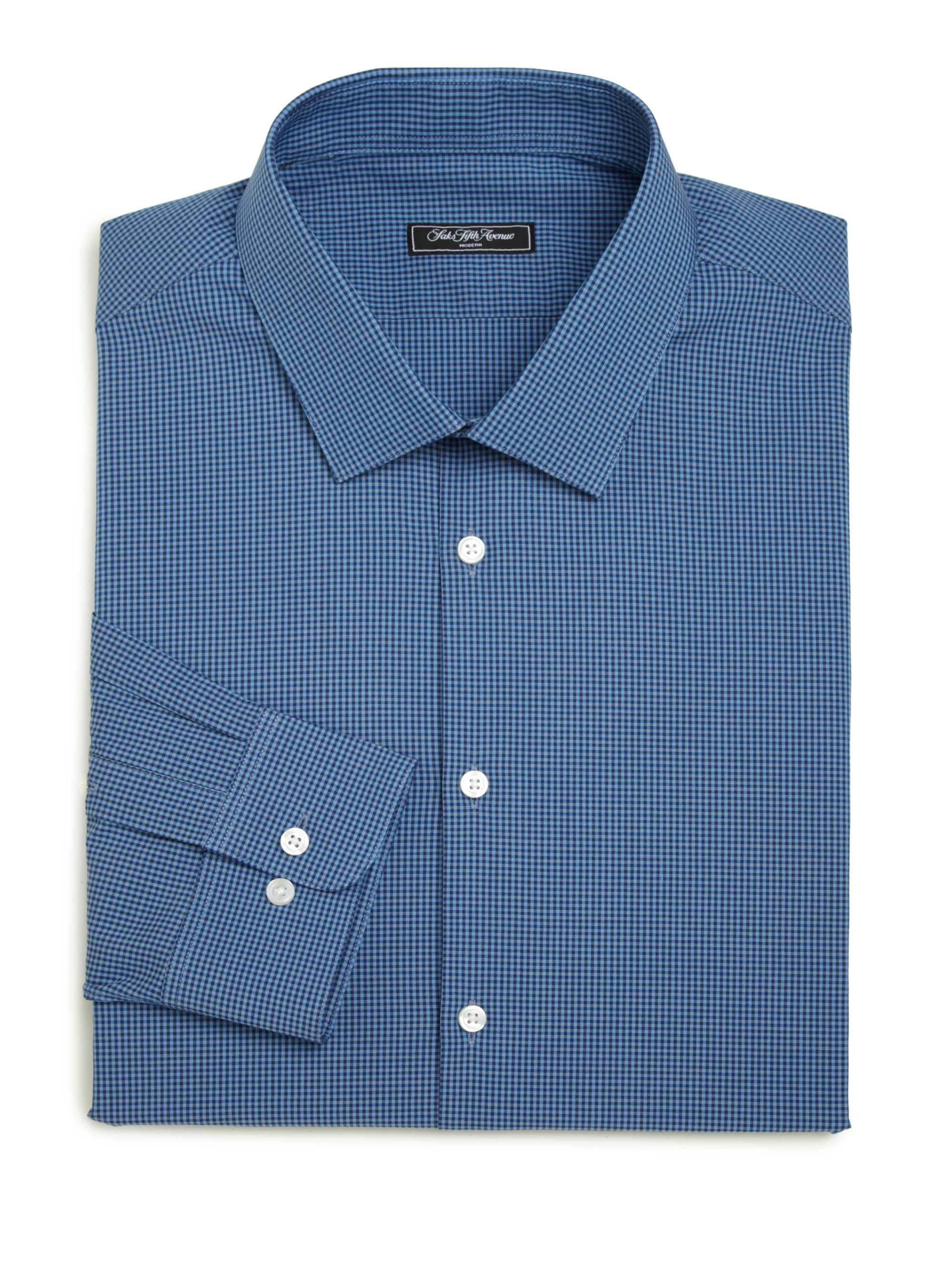 Saks fifth avenue modern fit printed dress shirt in blue for Modern fit dress shirt