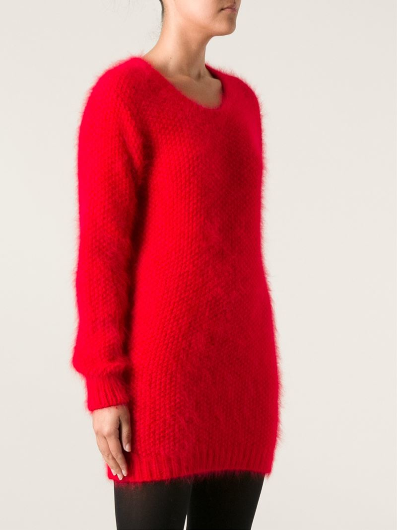 Saint laurent Thick Knit Long Sweater in Red | Lyst