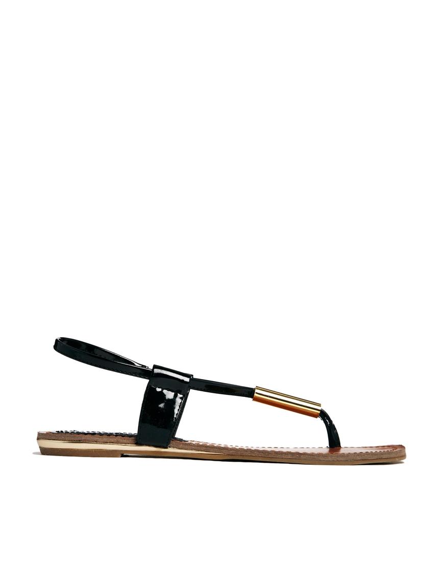5cbf49730 Steve Madden Hamil Black Toe Post Flat Sandals in Black - Lyst
