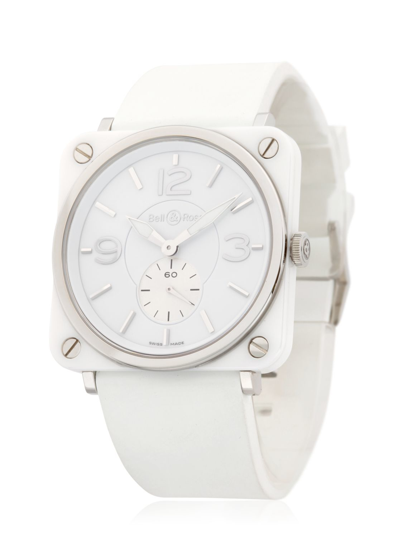 69fe59d38 Bell & Ross Brs White Ceramic Watch in Metallic - Lyst