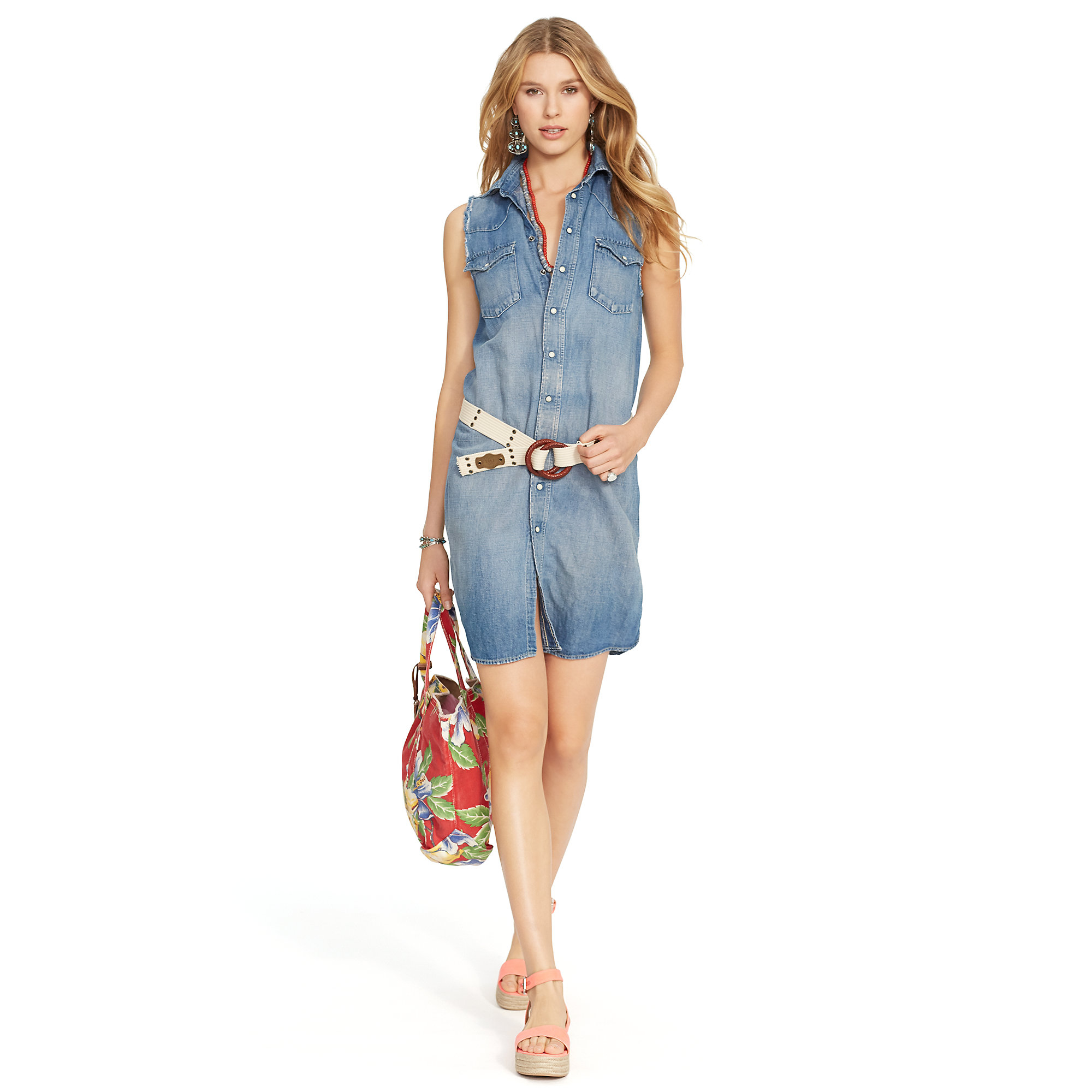Lyst polo ralph lauren chambray sleeveless dress in blue for Chambray dress