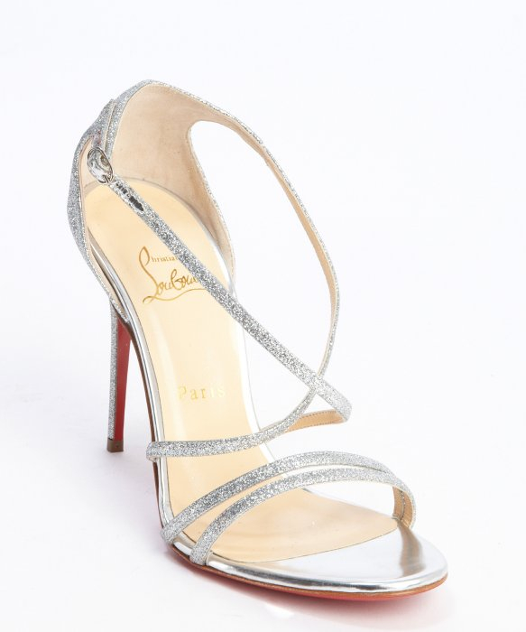 266a5b4fb2e2 Metallic Strappy Christian In Louboutin Sandals Glitter Silver Lyst qIB0ww