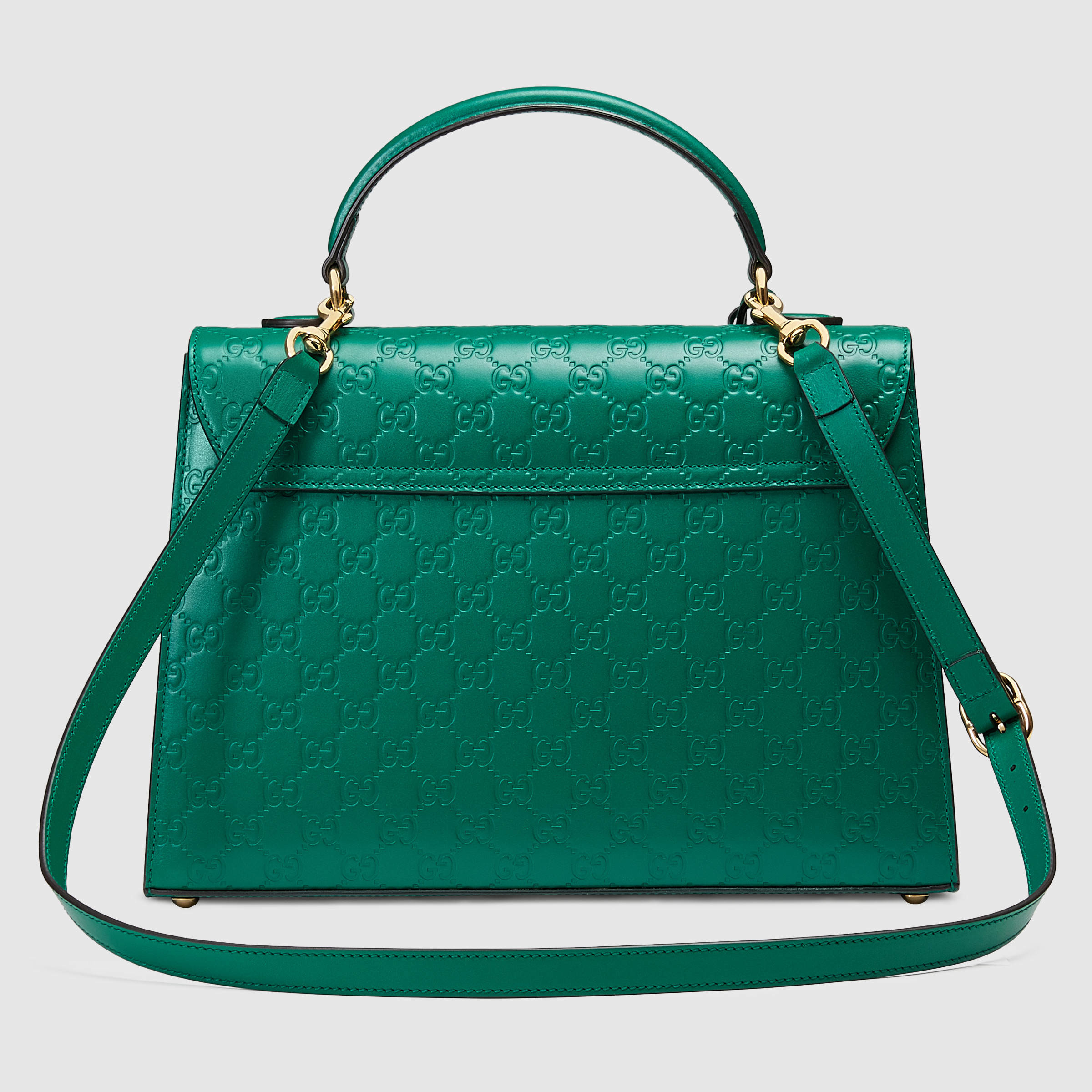 Gucci Padlock Signature Top Handle Leather Bag in Green | Lyst