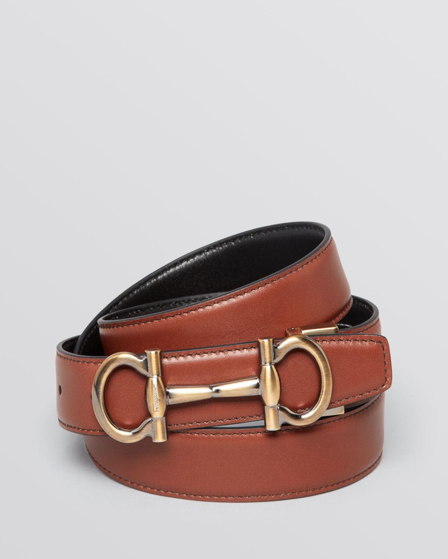 ferragamo reversible parigi bit belt in brown for lyst