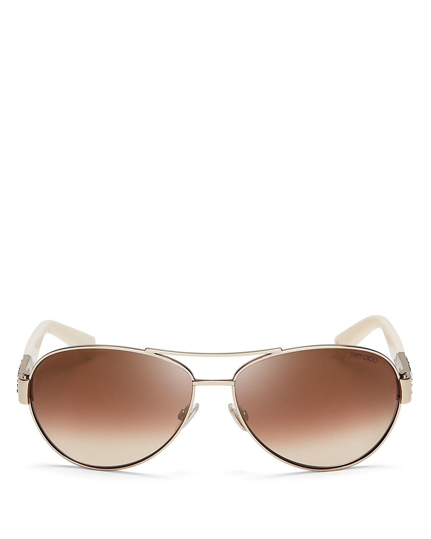 Jimmy choo mirrored baba aviator sunglasses in gold light for Mirror sunglasses