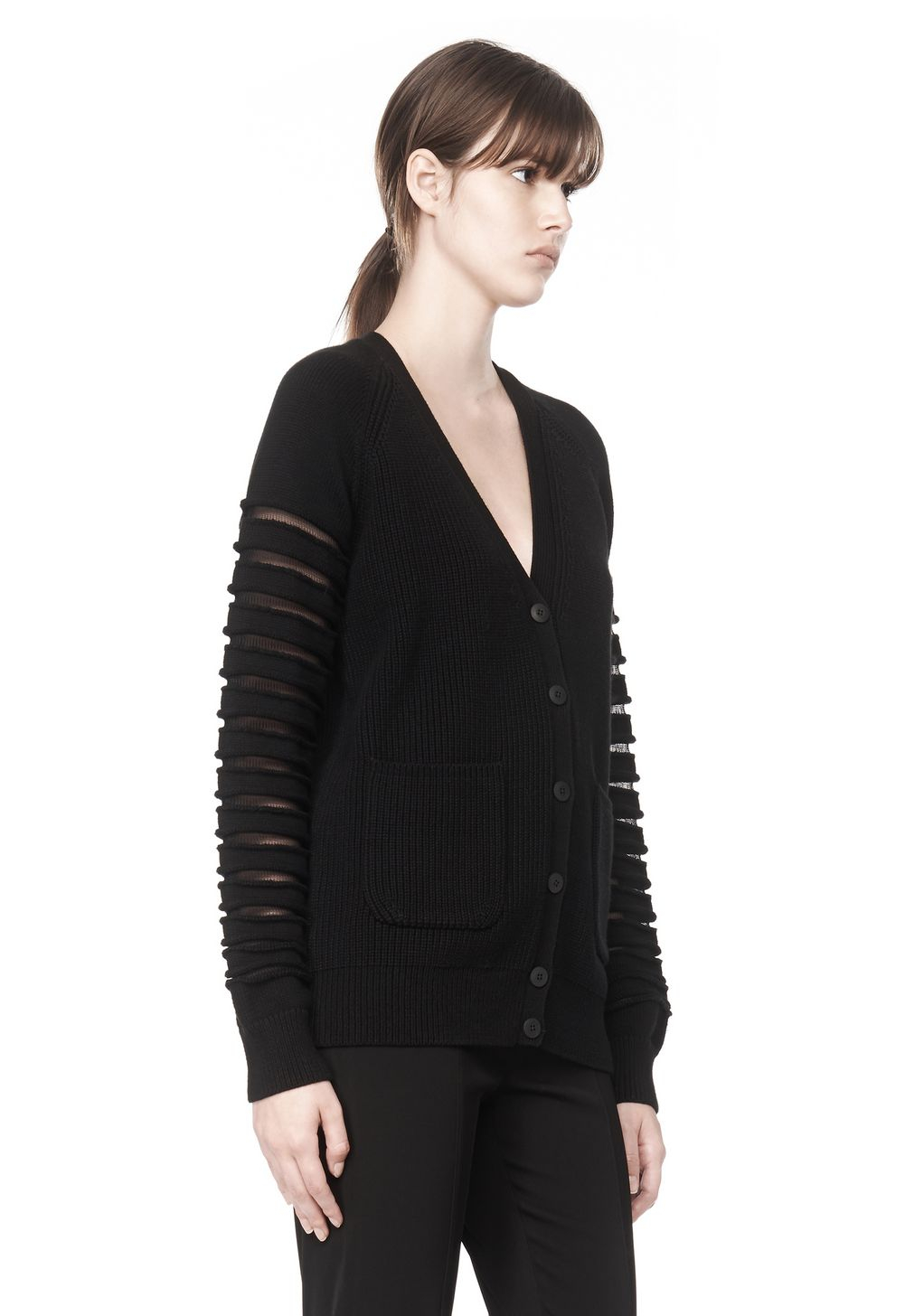 Alexander wang Cardigan With Sheer Striped Sleeves in Black | Lyst