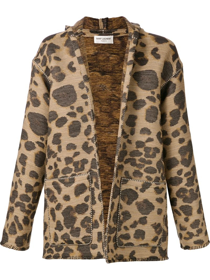 Saint laurent Leopard Print Hooded Cardigan in Brown for Men | Lyst
