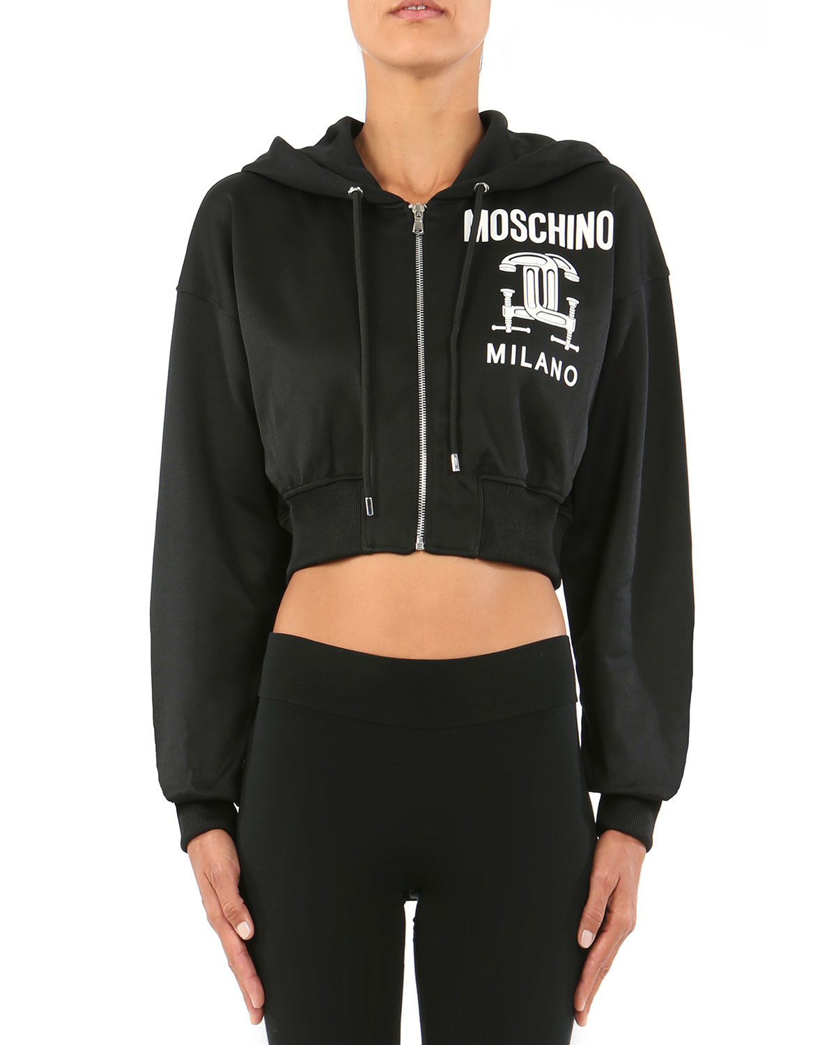 Moschino Long-sleeve Cropped Hooded Sweatshirt in Black | Lyst