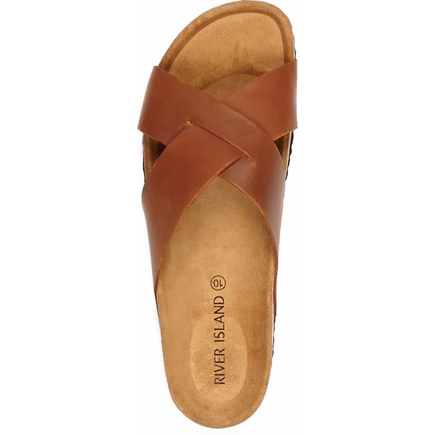 5db2aa19d5d97 River Island Brown Leather Cross-strap Sandals in Brown for Men - Lyst