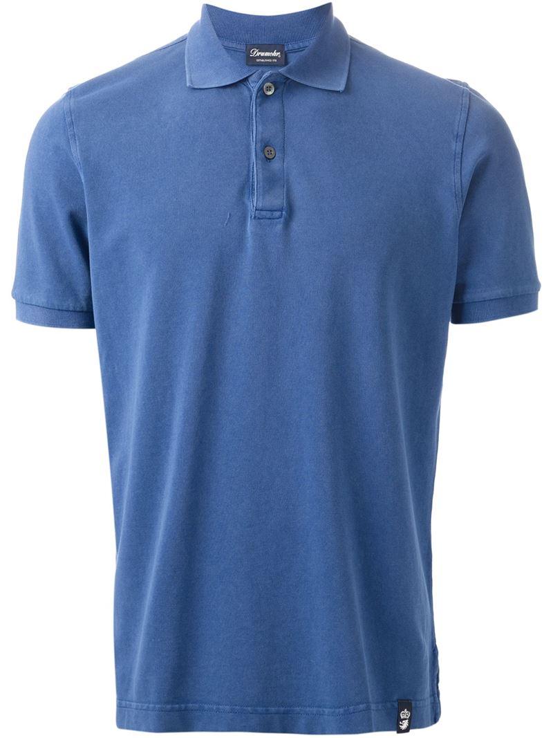 f8927d5fbef Pour Homme Polo Drumohr Bleu Classic Lyst En pHBqOWw