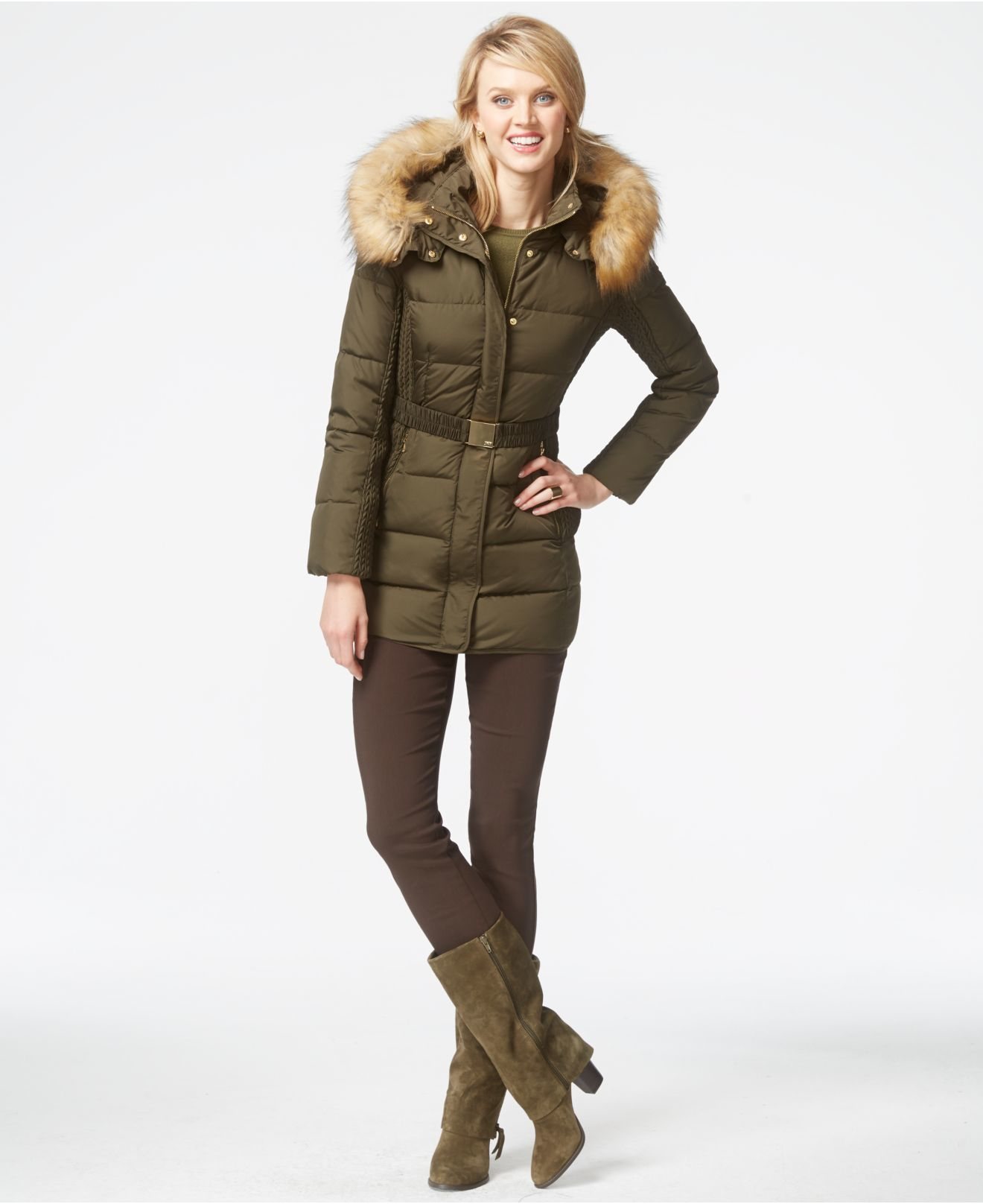 47164ecd1f0fa Best Lyst - Jones New York Faux-fur-hood Down Belted Jacket in Green