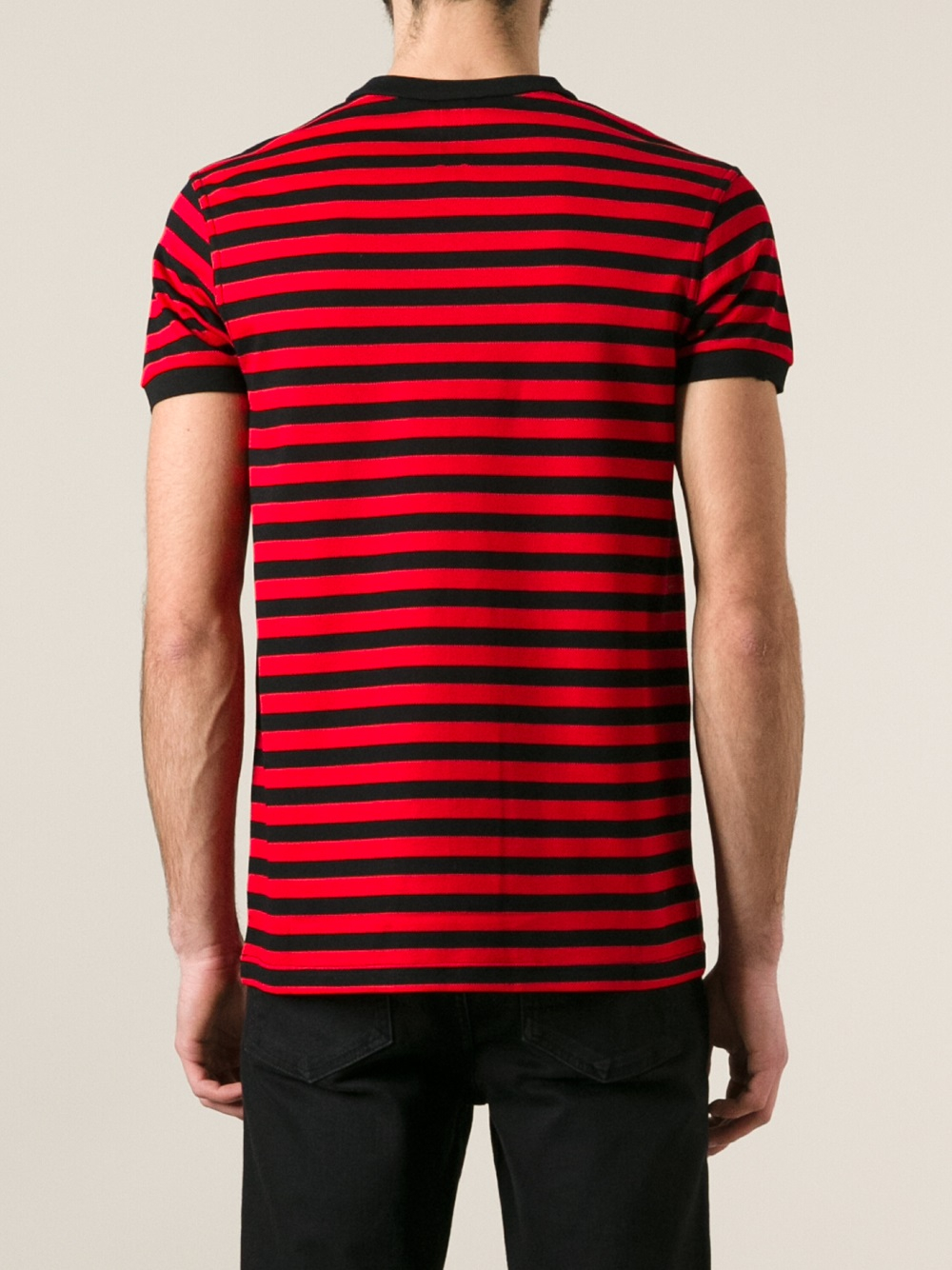 saint laurent striped polo shirt in red for men lyst