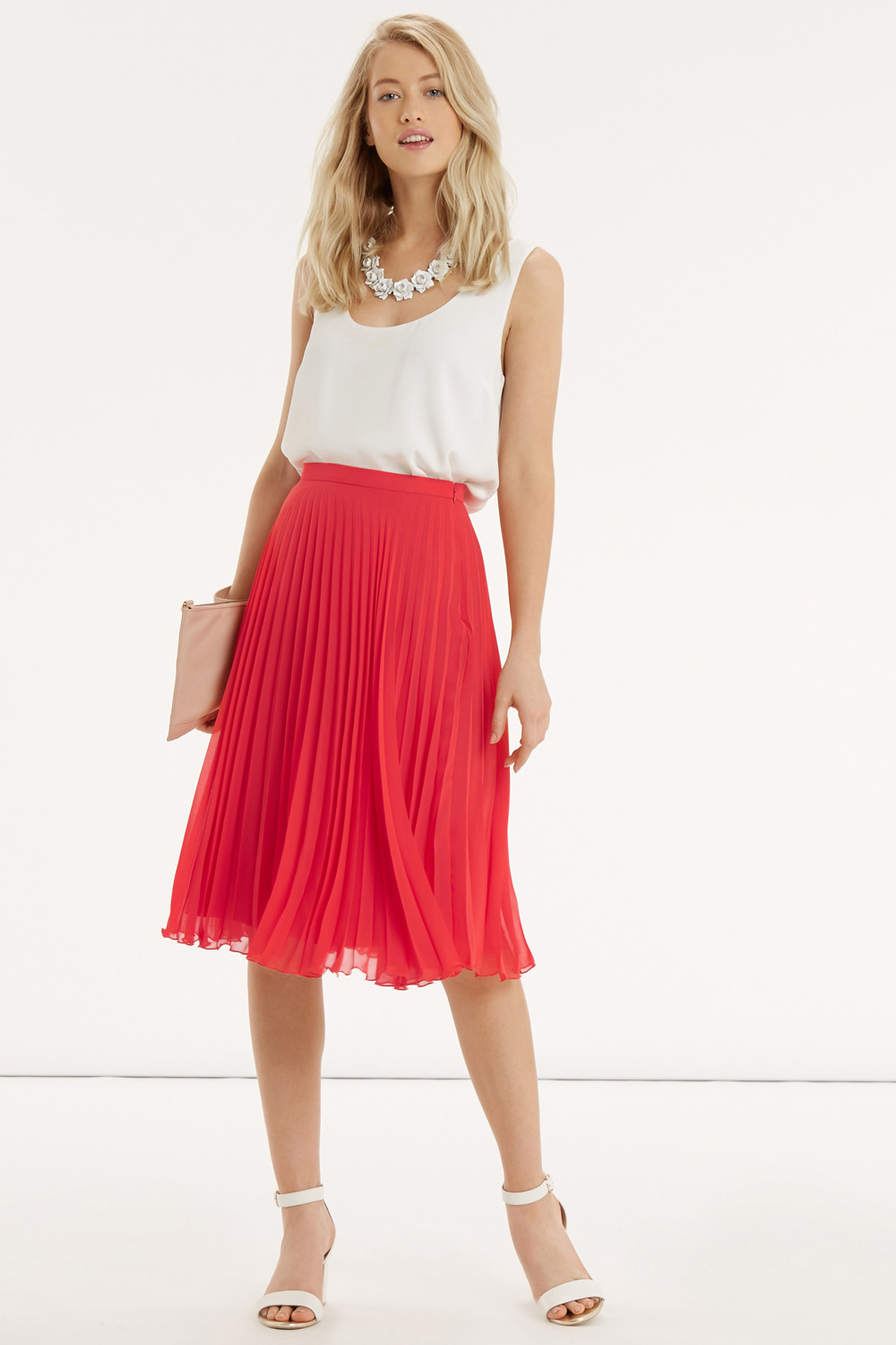 Oasis Pleated Midi Skirt in Red | Lyst