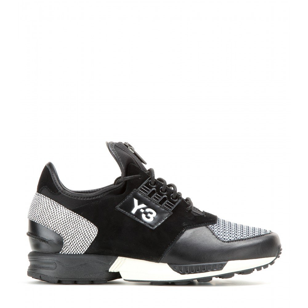 91eb5f2d7 Lyst - Y-3 Zx Zip Leather And Suede Sneakers in Black