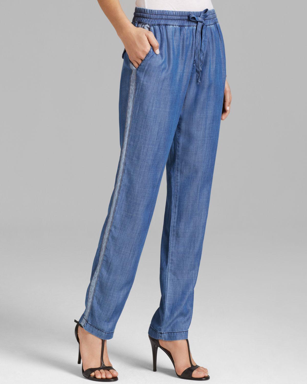 Michael stars pants chambray tuxedo stripe in blue denim for Chambray jeans