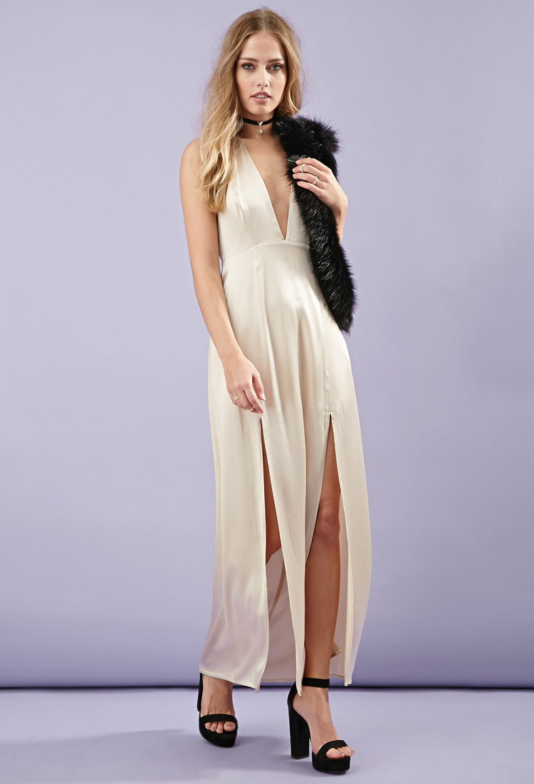 Forever 21 M-slit Satin Maxi Dress in Metallic - Lyst