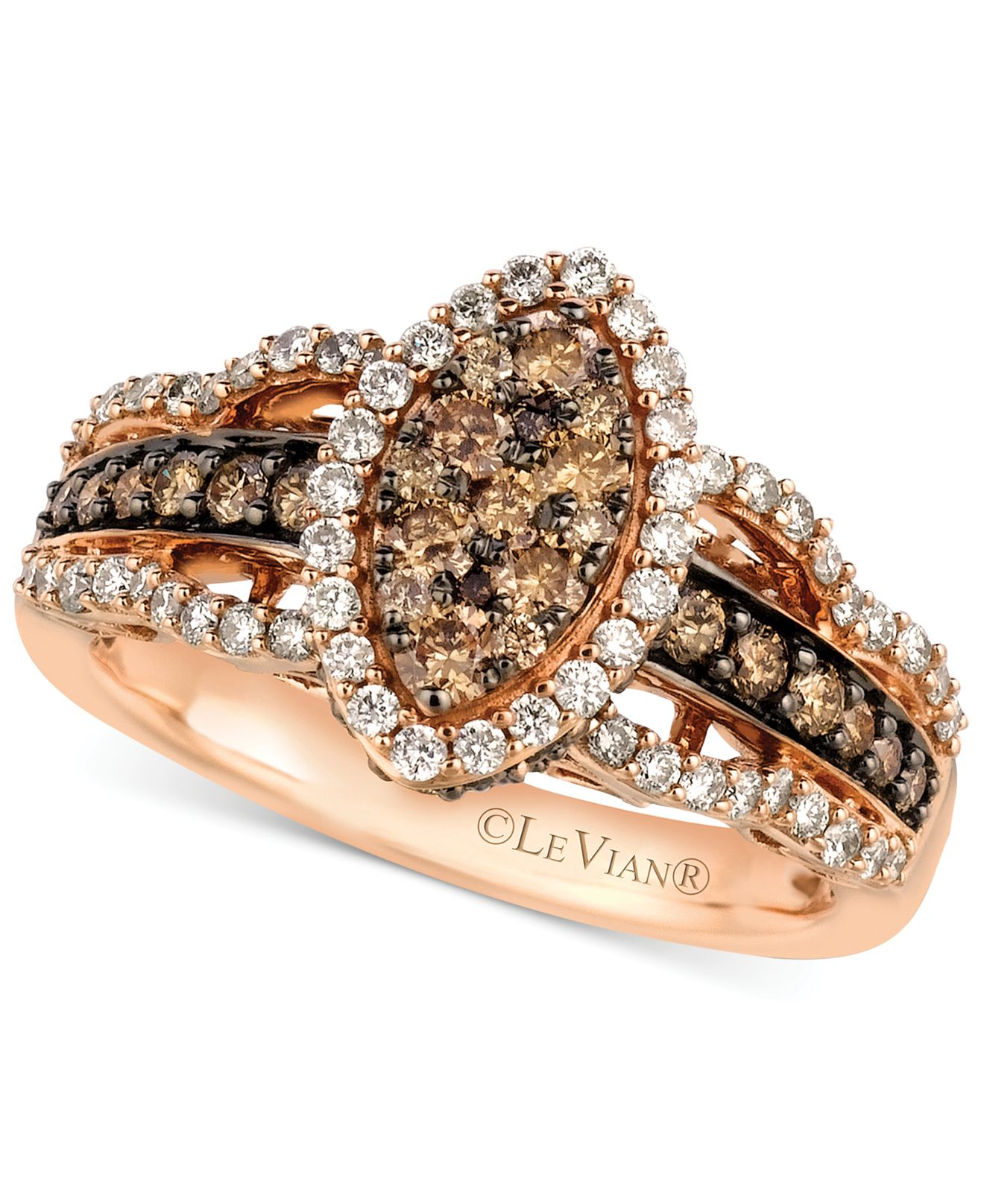 le vian white and chocolate ring in 14k gold