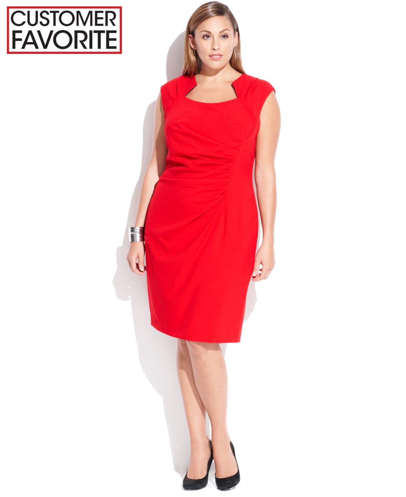 5df9b379 Calvin Klein Plus Size Cap-Sleeve Cutout-Neckline Sheath in Red - Lyst