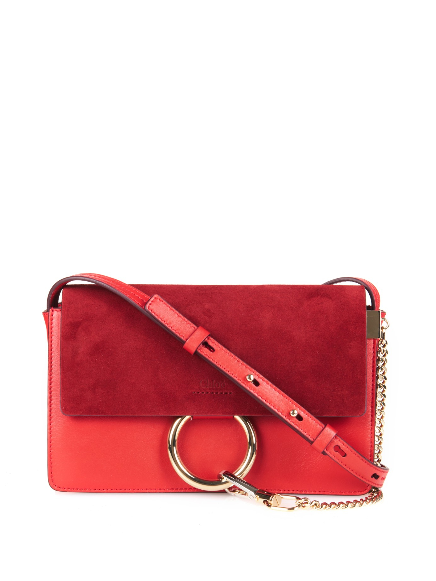 chlo faye leather and suede cross body bag in red lyst. Black Bedroom Furniture Sets. Home Design Ideas