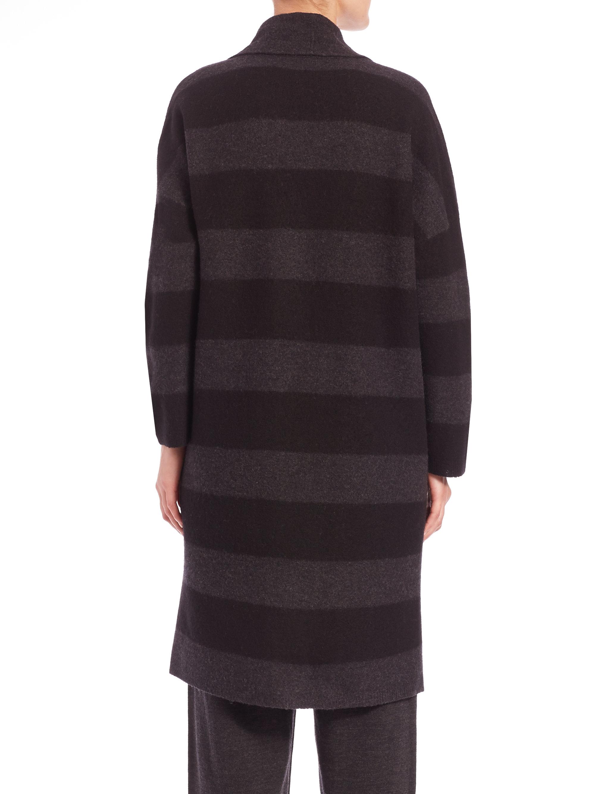 4ec8cd4df Eileen Fisher Striped Merino Wool Coat in Black - Lyst