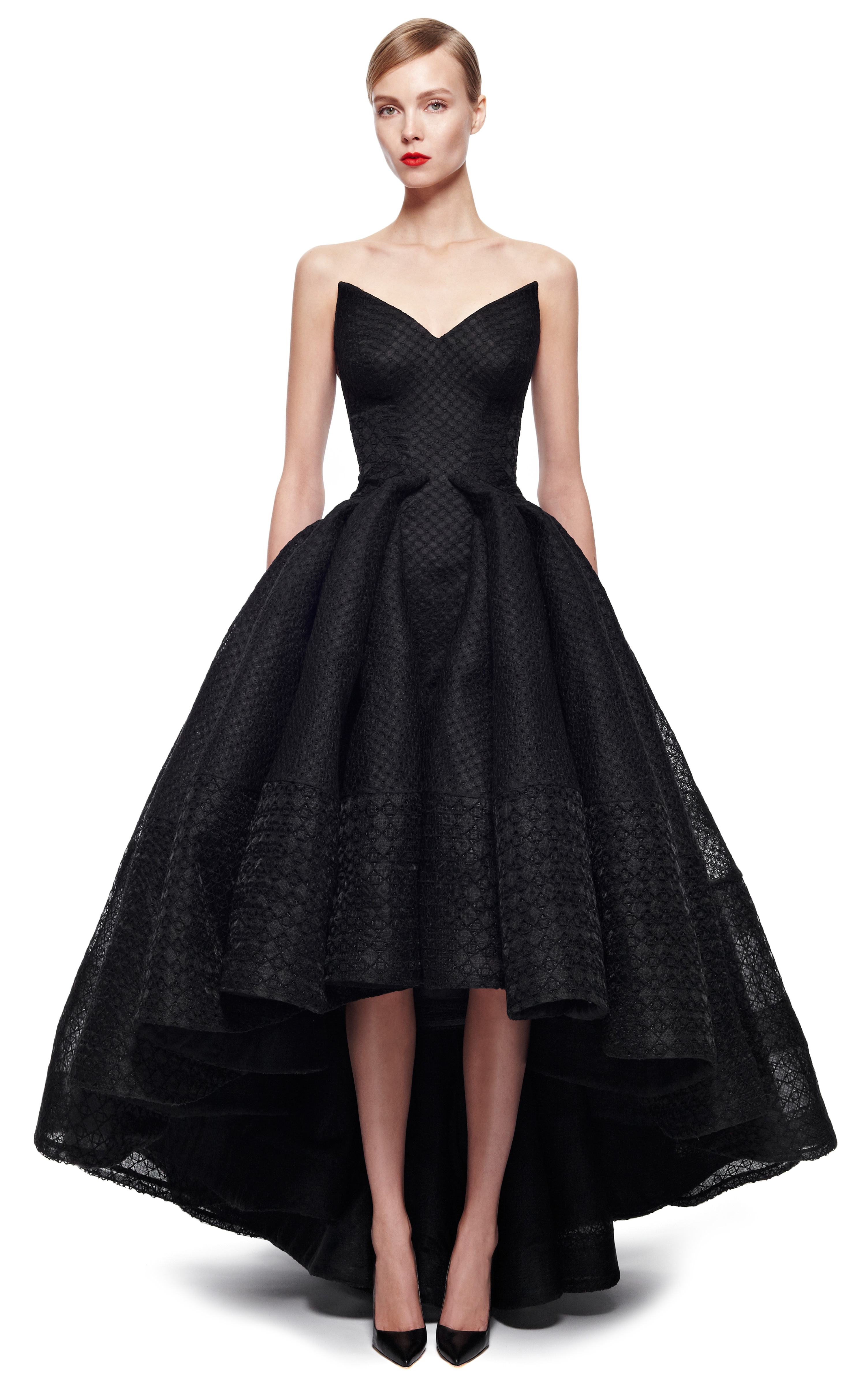 lyst zac posen embroidered organza gown in black With robe organza