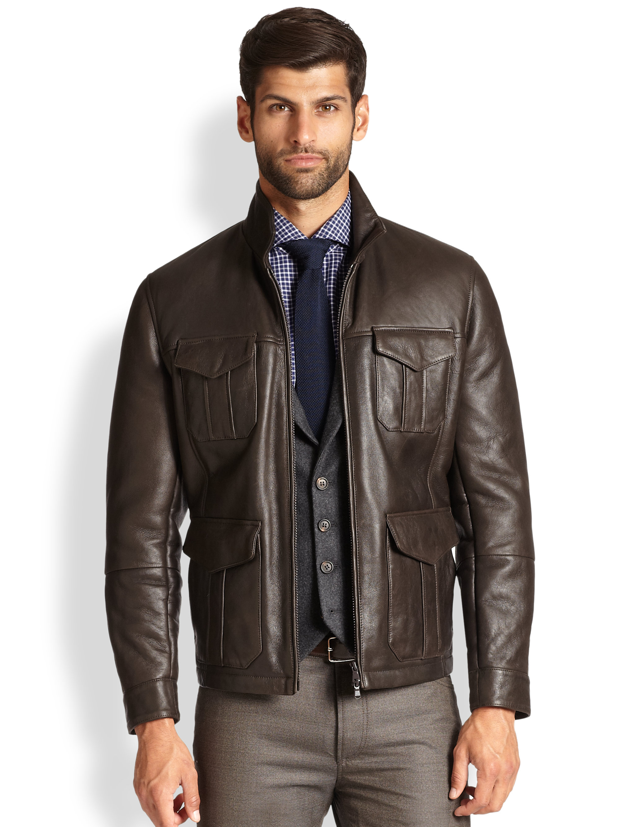 Brunello cucinelli Shearling-Lined Leather Bomber Jacket in Brown ...