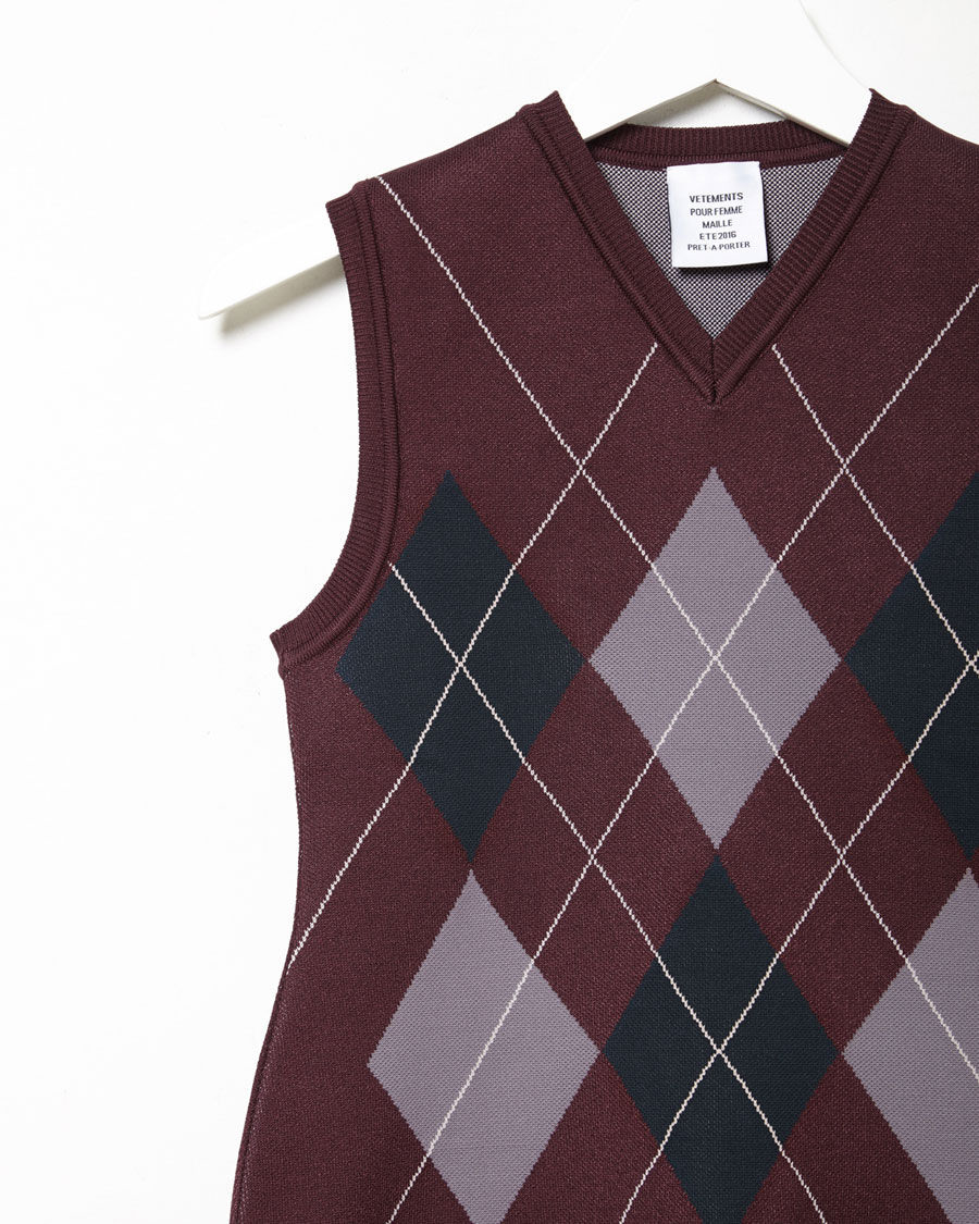 Vetements Argyle Sweater Vest in Purple | Lyst