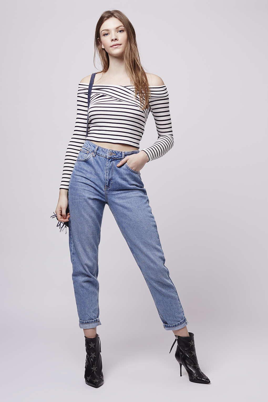 6f8bae2eb5f80 TOPSHOP Petite Bardot Stripe Top in Blue - Lyst