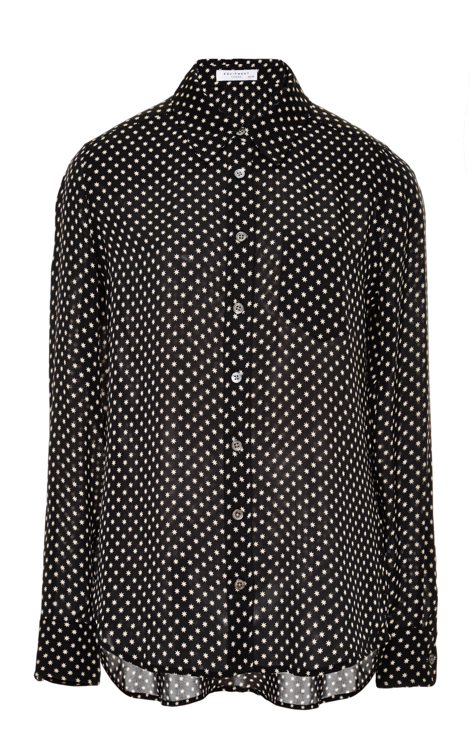 Lyst equipment brett star printed silk shirt in black for Equipment black silk shirt