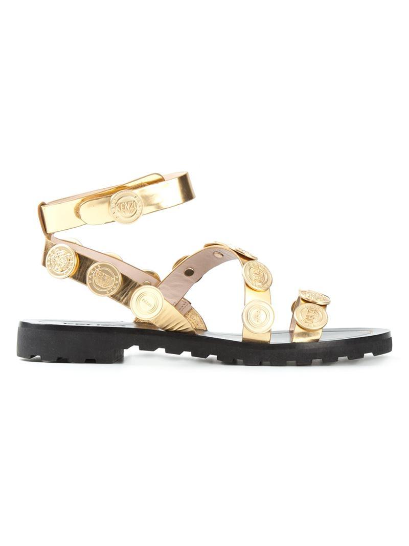 30e8851e9640da Lyst - KENZO  Coins  Sandals in Metallic