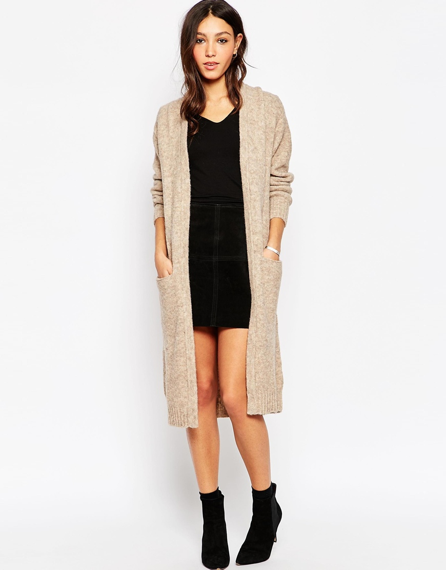 Minimum Maxi Cardigan With Front Pockets in Natural | Lyst