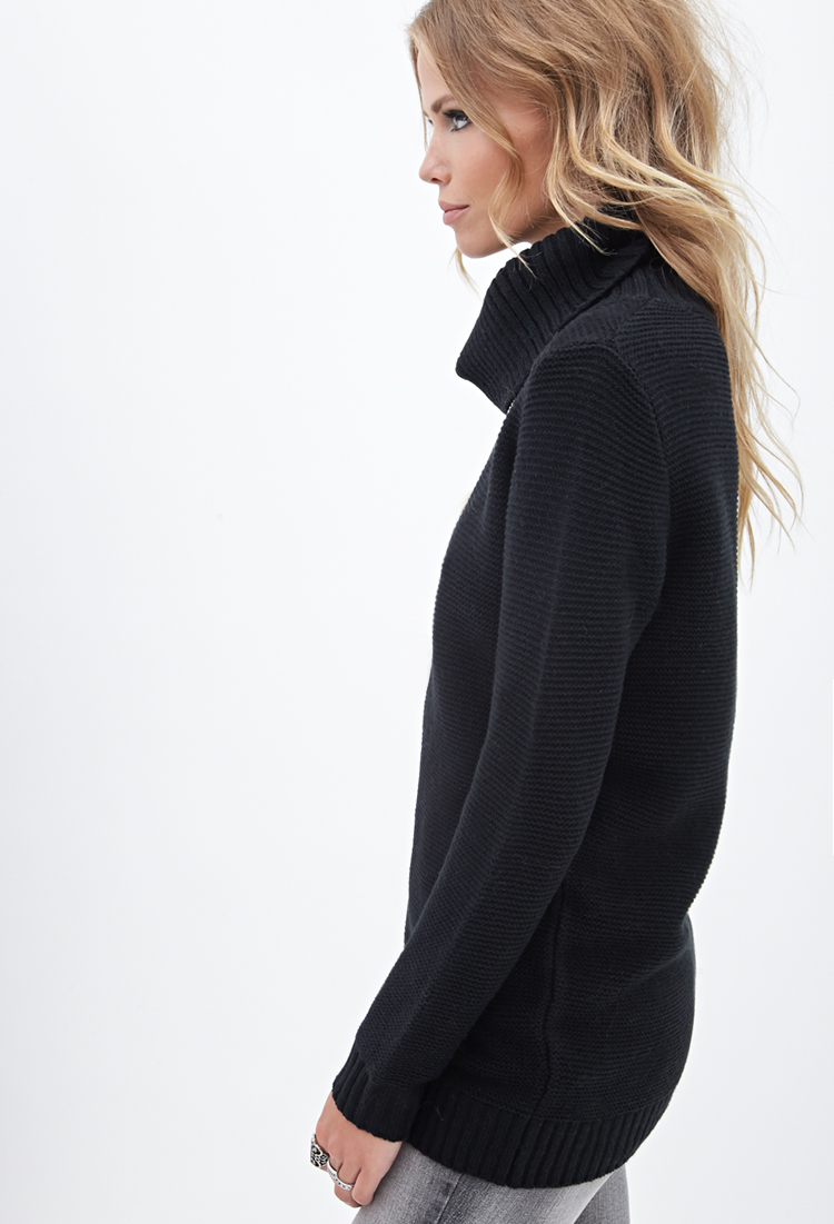 e32359543 Lyst - Forever 21 Waffle Knit Turtleneck Sweater You ve Been Added ...