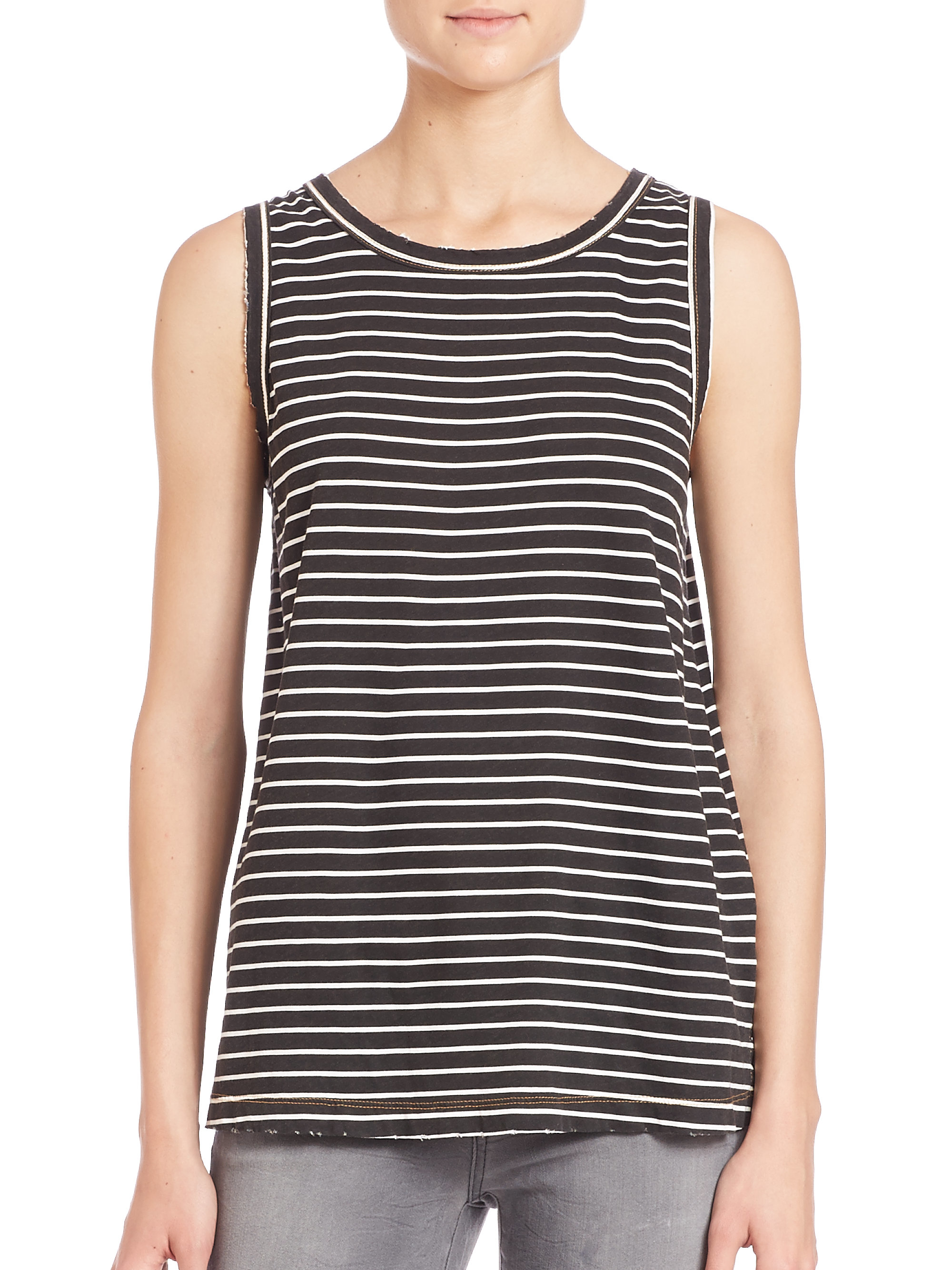 a7d45a2e5fef7 Lyst - Current Elliott Striped Muscle Tee in Black
