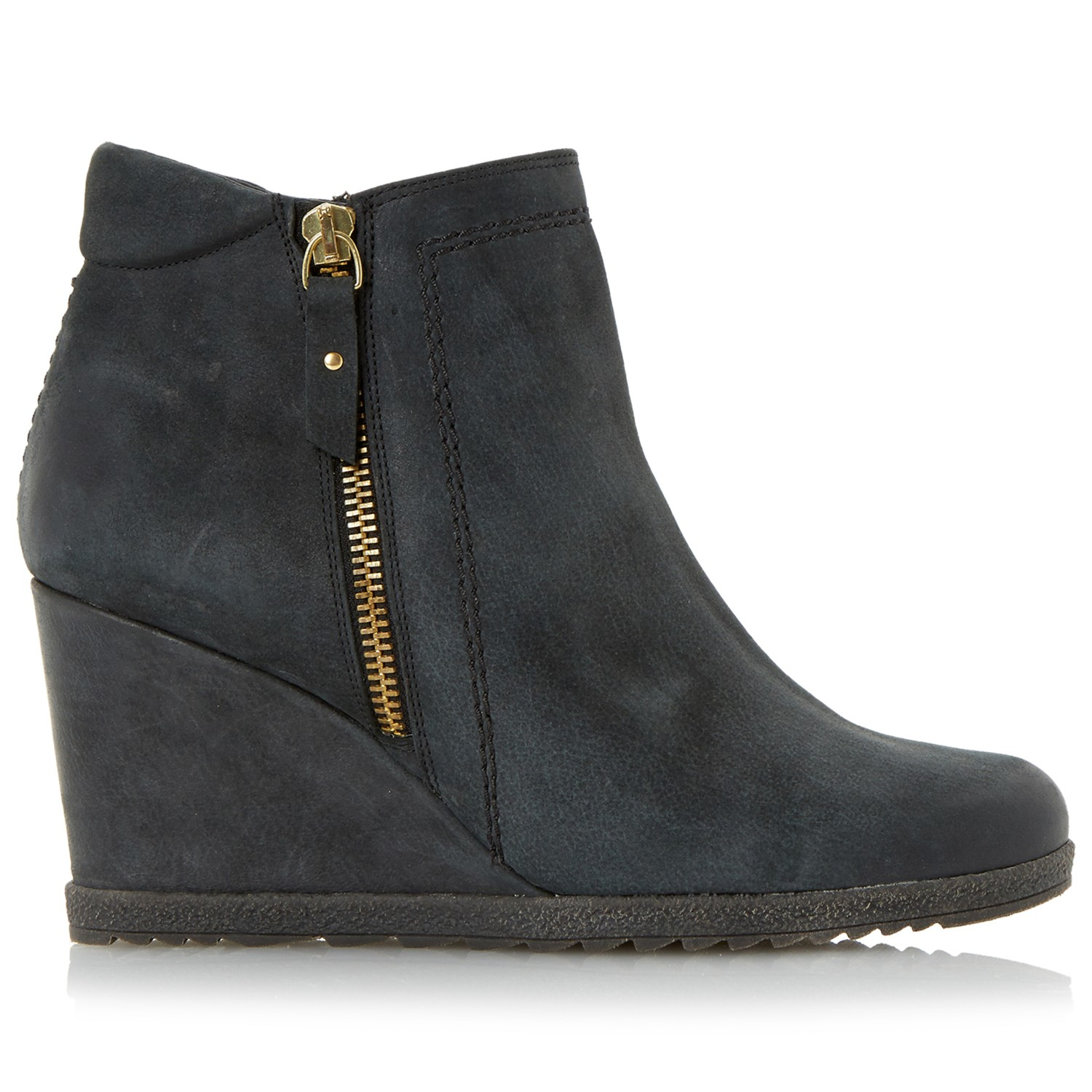 2cbf3ab3af4 Dune Pacino Side Zip Wedge Ankle Boots in Black - Lyst