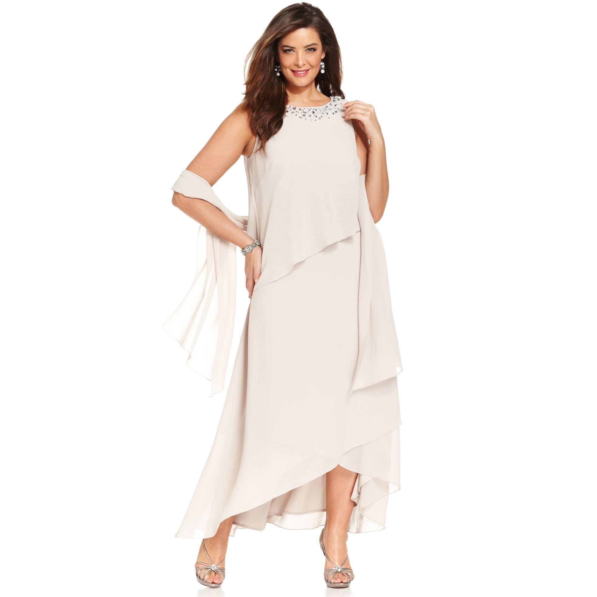 Alex evenings Plus Size Embellished Tiered Dress And Shawl in ...