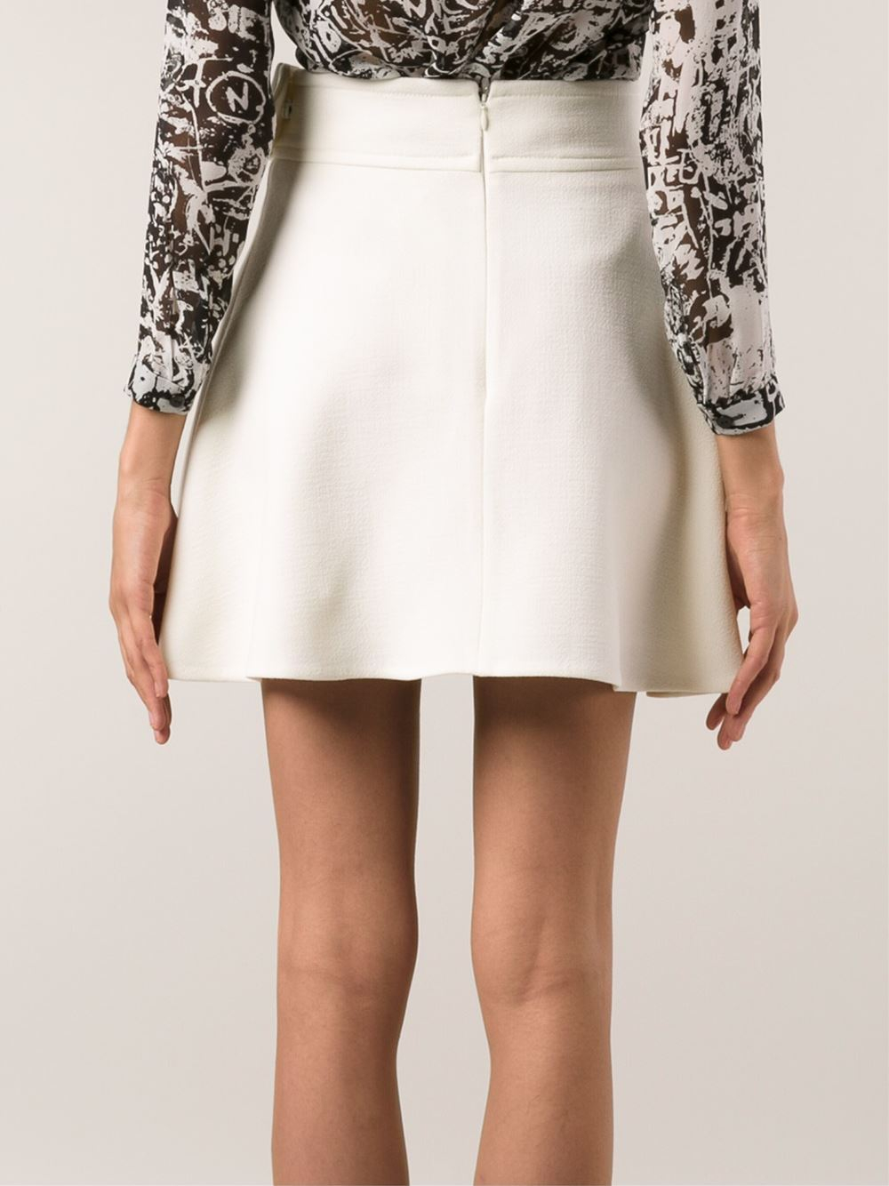 Carven Flared Skirt in White | Lyst