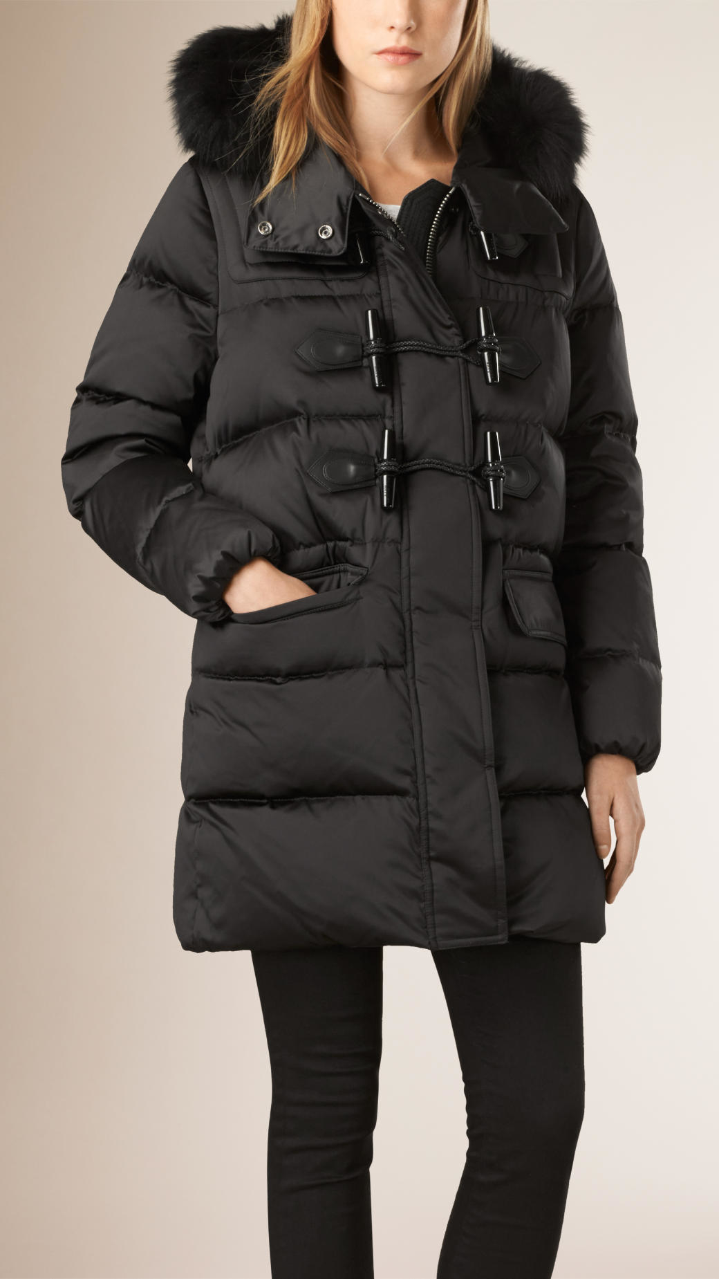 Burberry Fox Fur Trim Down-filled Duffle Coat Black in Black | Lyst