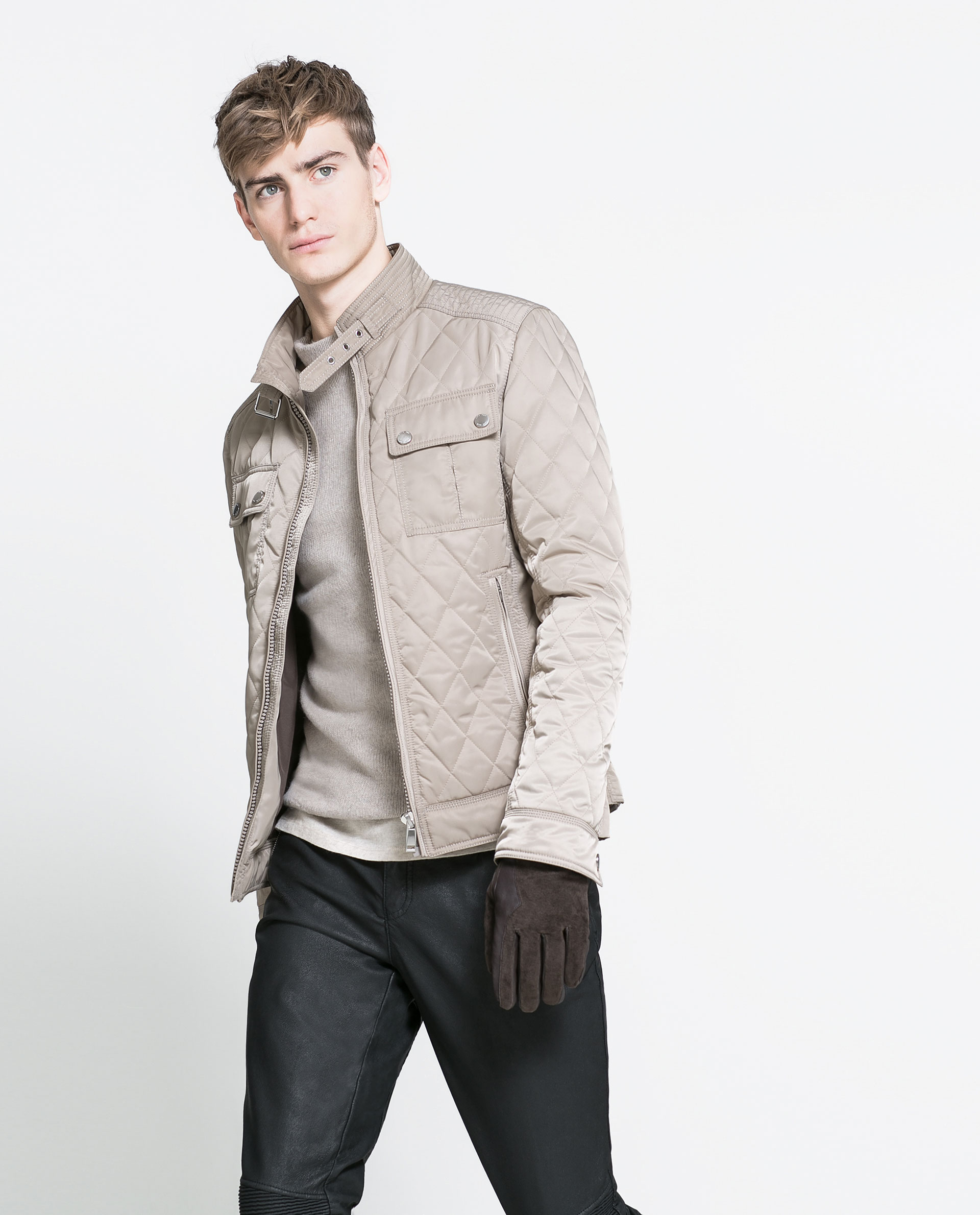 Zara Quilted Jacket in Natural for Men | Lyst