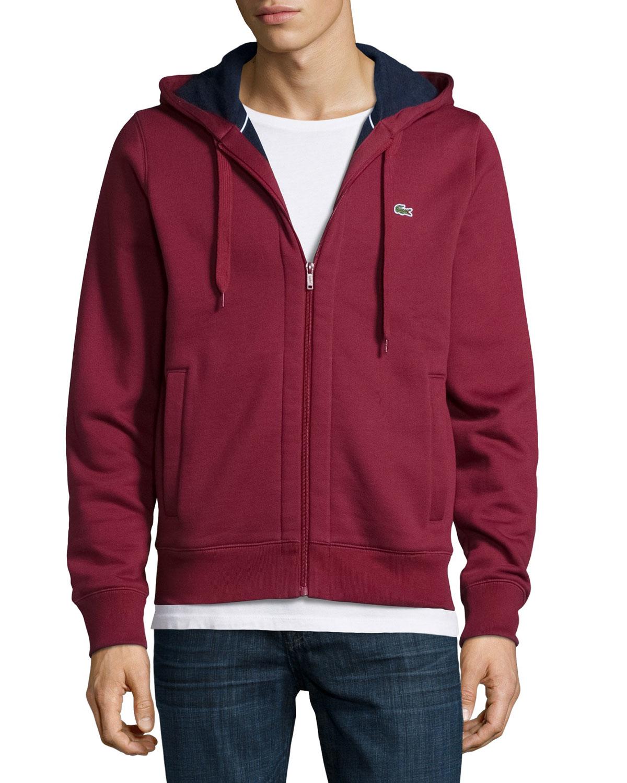 ce51b73190a57a Lyst - Lacoste Full-zip Fleece Hoodie in Red for Men