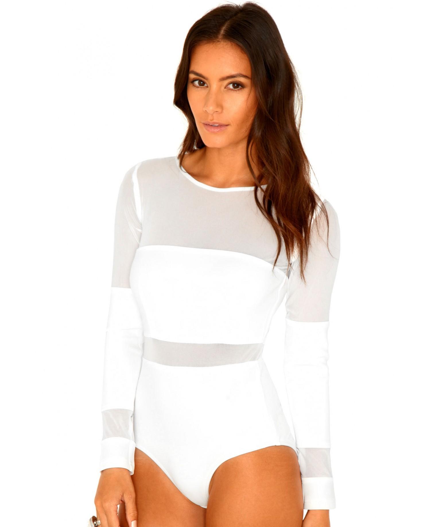 Lyst - Missguided Lorenza Mesh Panel Bodysuit in Cream in Natural ed45d9207