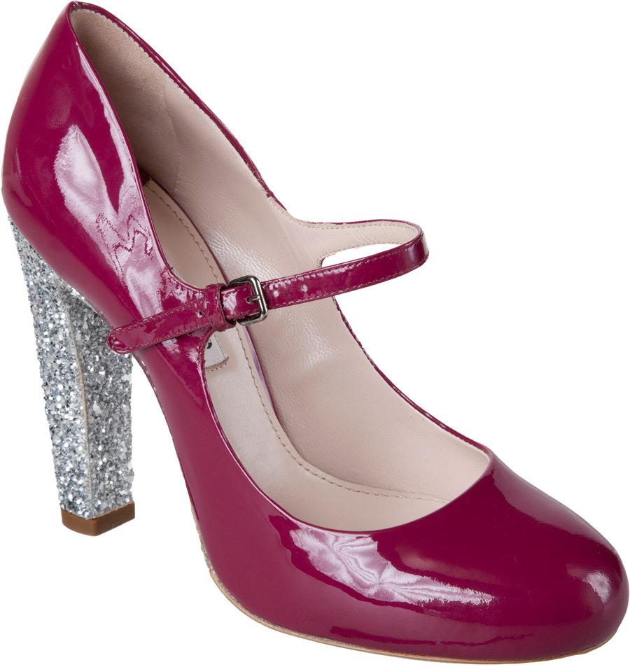 Lyst - Miu Miu Mary Jane Glitter Heel in Red