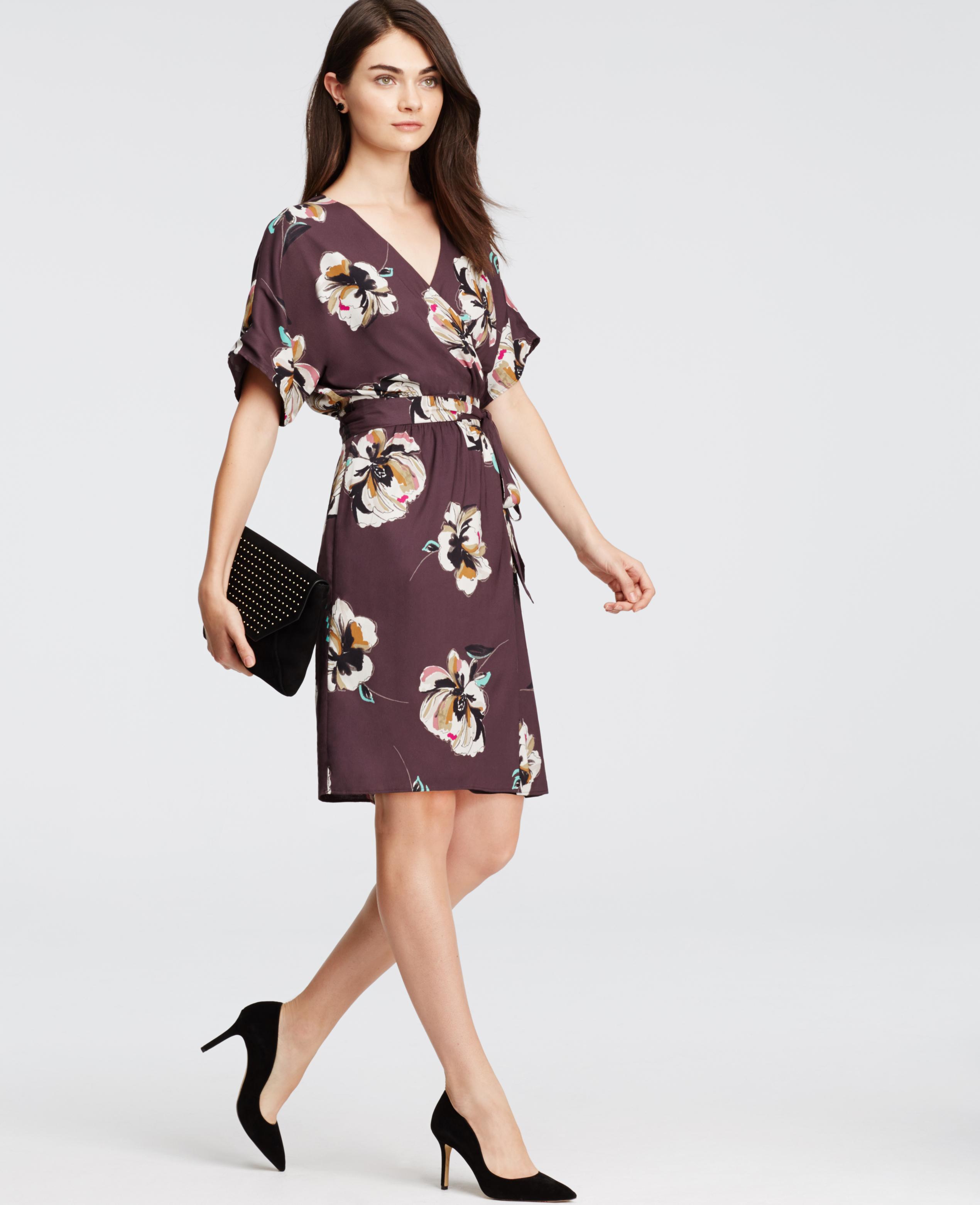 Ann Taylor Petite Floral Wrap Dress In Purple Lyst