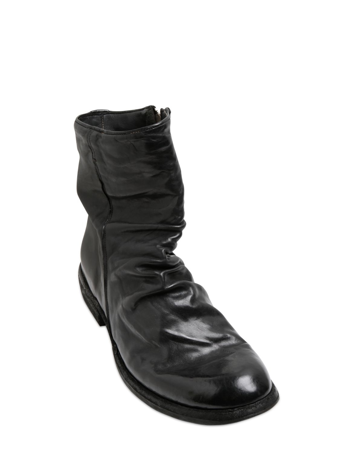 officine creative brushed washed wrinkled leather boots in