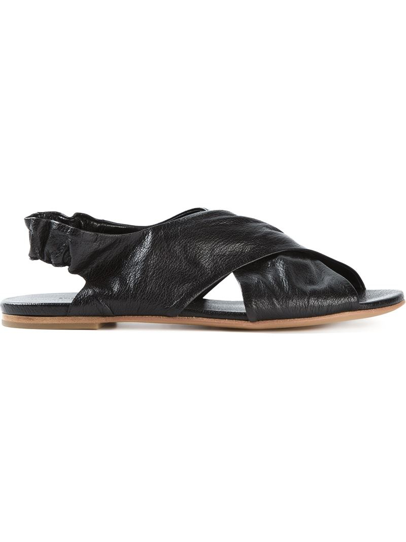 For Sale Buy Authentic Online snakeskin effect crossover sandals - Black Del Carlo Buy Cheap Big Sale Fashionable Browse Online IehAf