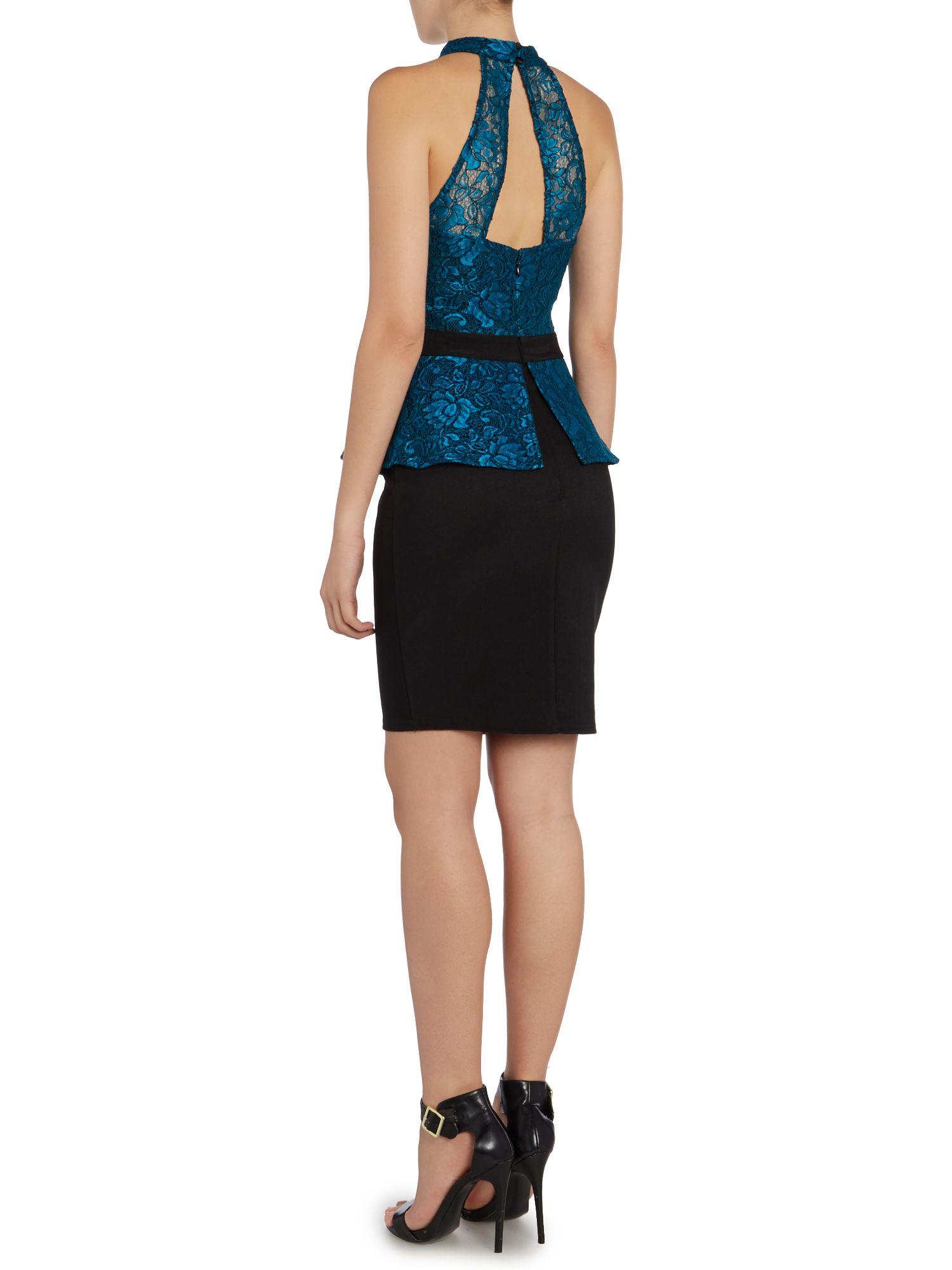 Lipsy halter neck lace peplum bodycon dress