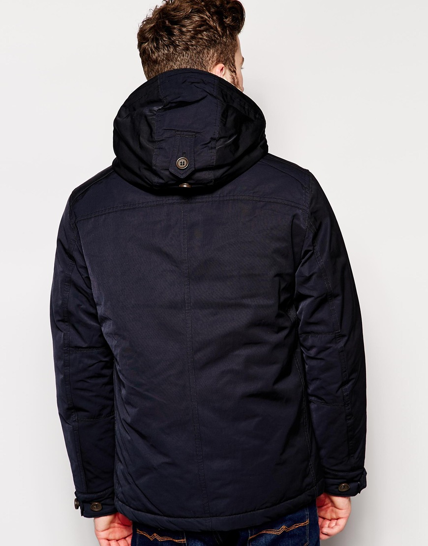 Padded Men Lyst Nylon Replay In Heavy For Parka Blue Coat Lined 4nnTq6pw